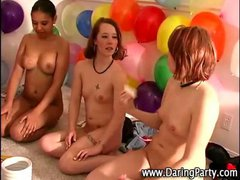 Teen lesbian chicks go down on each other