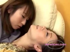 2 Asian Girls Kissing Passionately Sucking Tongues...