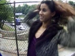 HOT GIRL 9 beurette flashing on the highway