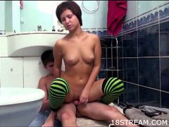 Teen girls banged hard in the bathroom