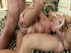 Bsuty blonde whore hot threesome