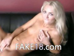 Teenage model enjoying fake agent tongue