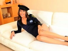 Policewoman teasing on the white bigbed