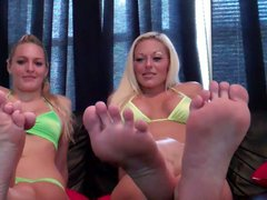 Lewd babes teasing with sexy feet