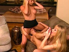 Three hot blonde share hot lesbian pleasures