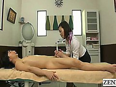 Subtitled CFNM Japanese massage with sensual handjob