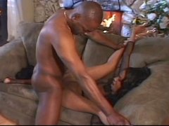 Latina in stockings for huge black cock