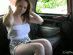 Busty natural amateur fucked in taxi