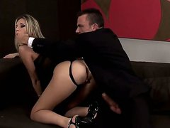 Young tempting blonde slut Cherry Jul with natural boobs and long legs in black thong gets her ass fingered and boned balls deep by her lover until he cums inside.