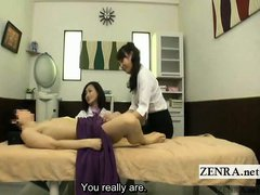 Subtitled CFNM Japanese massage for inexperienced men