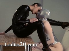 subtle strapon lesbians in mask playing