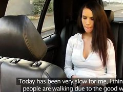 Hot busty brunette sucking dick and licking balls in fake taxi