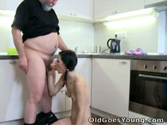 Young karina gets old meat in a threesome