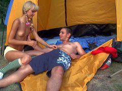 Pigtailed teen blonde Nancy with tiny tits removes her red