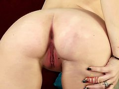 Leggy girl Stacie Jaxxx shows off her shaved spot