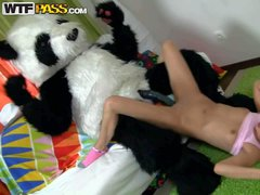 Skinny small titted teen Amelie Pure in pink socks and