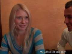 Teenage amateur blonde Iry gets picked and up and paid