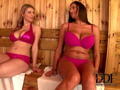 Sensual Jane and Katarina are two curvy babes that pull