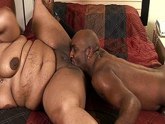 Sexy big black momma gets stuffed with a juicy black cock