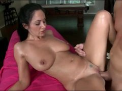 Ava Addams oiled up hardcore sex on massage table