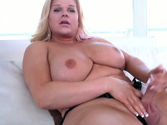 Holly Sweet is a blonde haired shemale with huge racks