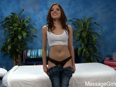 Tight girl Evilyn in black panties takes off her blue