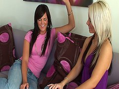 Sexy blonde and brunette give in to their lesbian lusting