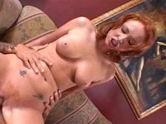 Naughty redhead slut gets double penetrated