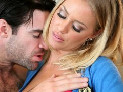 Charming blonde Nicole Aniston gets fondled by black haired macho