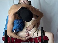 Tied up slut gets her pussy tortured by her master