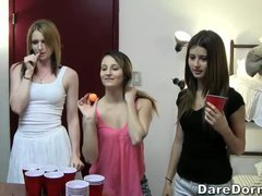 Beer pong is a funny game college girls love to