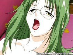 Green-haired hentai babe whanged in a library
