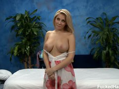 Blonde girl Madison is ready to enjoy massage in her