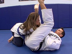 Slender young hot blonde Megan Fenox fucks her karate teacher