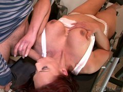 Sexy redhead woman in white is step-mom Nicki Hunter. He