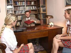 Cock loving blonde schoolgirls Lolita and Morgan Moon share a big cock