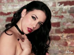 Dark haired charming Burlesque babe Jelena Jensen with nice make-up