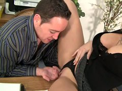 Slutty blonde haired milfy lady boss Alana Evans spreads her