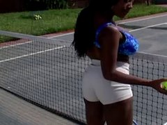 Black bitch with big tits gets banged on the tennis court!