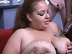 Chubby Bitch Cum Covered!