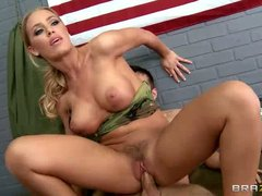 Big titted Sgt. Nicole Aniston takes hard cock of her