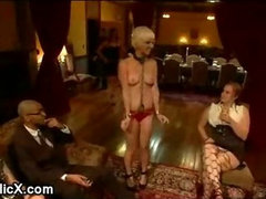 Blonde Chloe Camilla bdsm orgy fucked at dinner party