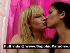 Gorgeous brunette and blonde lesbians fingering and licking pussy and having lesbian love