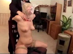 Bound to chair blonde gets vibed until cums
