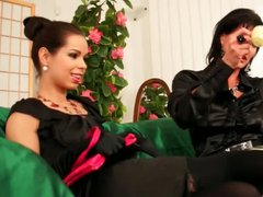 Brunette lesbos having a tea party with messy cream