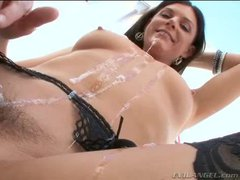 India Summer chokes on big cock before anal