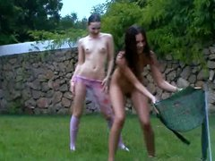 Russian chicks watersports in the public