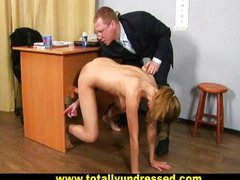 Humiliating nude job interview for young lady