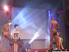 Two girls get a show from male strippers