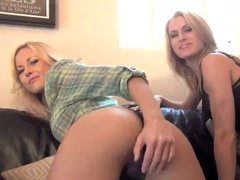 Blondes in skirts give jerk off instruction